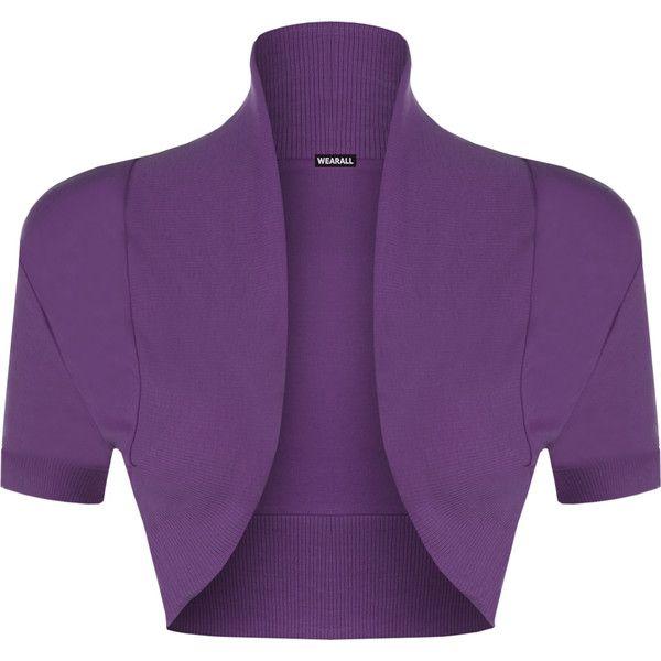 WearAll Short Sleeved Bolero Shrug ($13) ❤ liked on Polyvore featuring outerwear, purple, purple shrug, shrug cardigan, cardigan shrug, cotton shrugs and short sleeve shrug