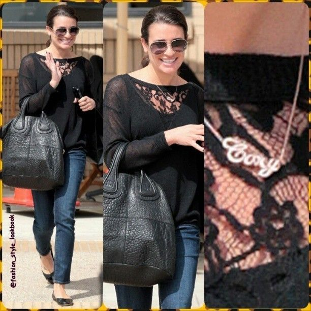LEA MICHELE dons a precious *CORY* necklace while shoppin at Barney's NY, Beverly Hills Calif.#leamichele #glee #denim #skinnypants #skinnyjeans #corymonteith #music #black #shopping #ny #fashion #style #styles #fashionista #fashionicon #styleicon #stylish #instafashion #instastyle #celebrity #streetstyle #streetfashion #outfit #blonde #brunette #instyle #makeup #shoes #heels #bags... - Celebrity Fashion