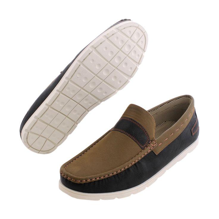 Vikings - Men's Slip On Boat Shoes - Black/Olive