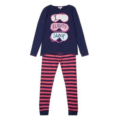 bluezoo Girl's navy 'Beauty Sleep' pyjama set- at Debenhams.com