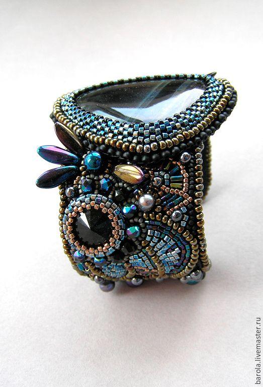 """Купить Браслет """"Звёздный путь"""" - черный, бронзовый, браслет, браслет с камнем, вышитый браслет"""