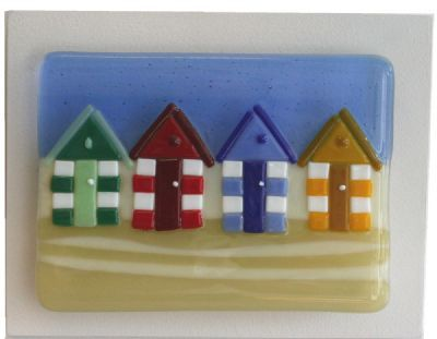 Beach Huts - Fused Glass Panel on Board by Nicky Exell 131