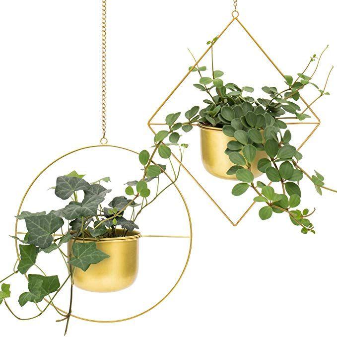 Amazon Com Set 2 Brass Gold Geometric Metal Hanging Plant Pot Decorative Flower Pot Holder With Pla Wall Planters Indoor Hanging Plants Indoor Plant Hangers