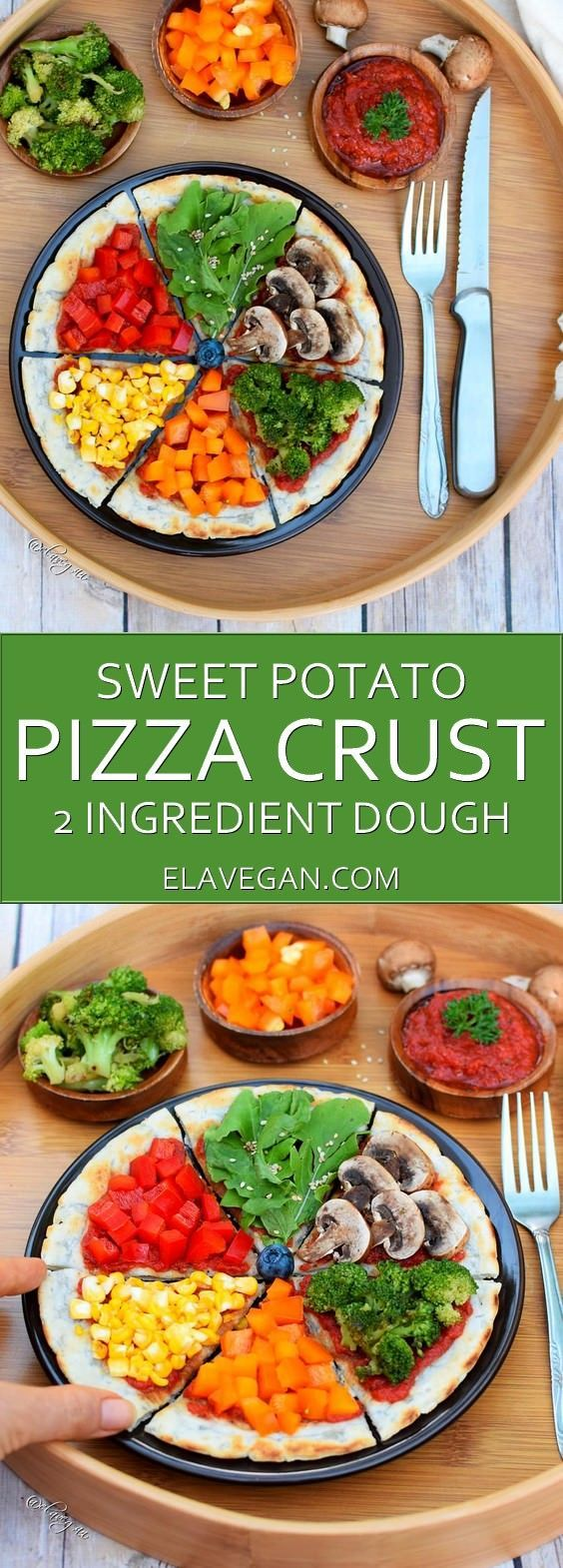 Sweet potato pizza crust recipe with 2 ingredients only. This gluten free dough is vegan, yeast free, paleo friendly, healthy and you will need just two ingredients. Give my vegan pizza crust a try