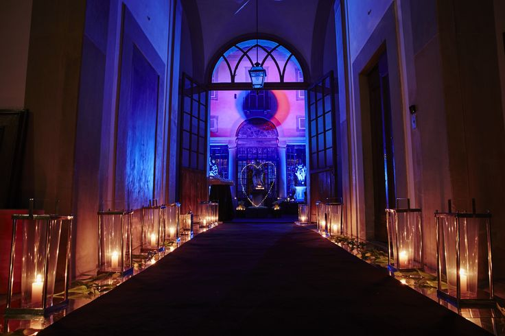 Lantern decoration to the dance room with light hearts at the end.