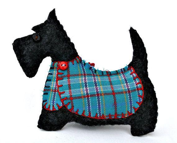 Cane Scottie natale ornamento, feltro cane ornamento, decorazione di Scottie dog, cane natale ornamento, Handmade feltro ornamento Scottish terrier.