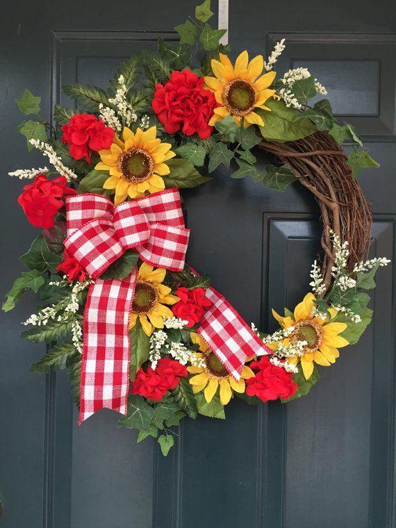 Summer Decor Summer Front Door Wreath,Front Door Wreath,Farmhouse Wreath,Farmhouse Decor,Wreath,Fall Wreath Summer Wreath Spring Wreath