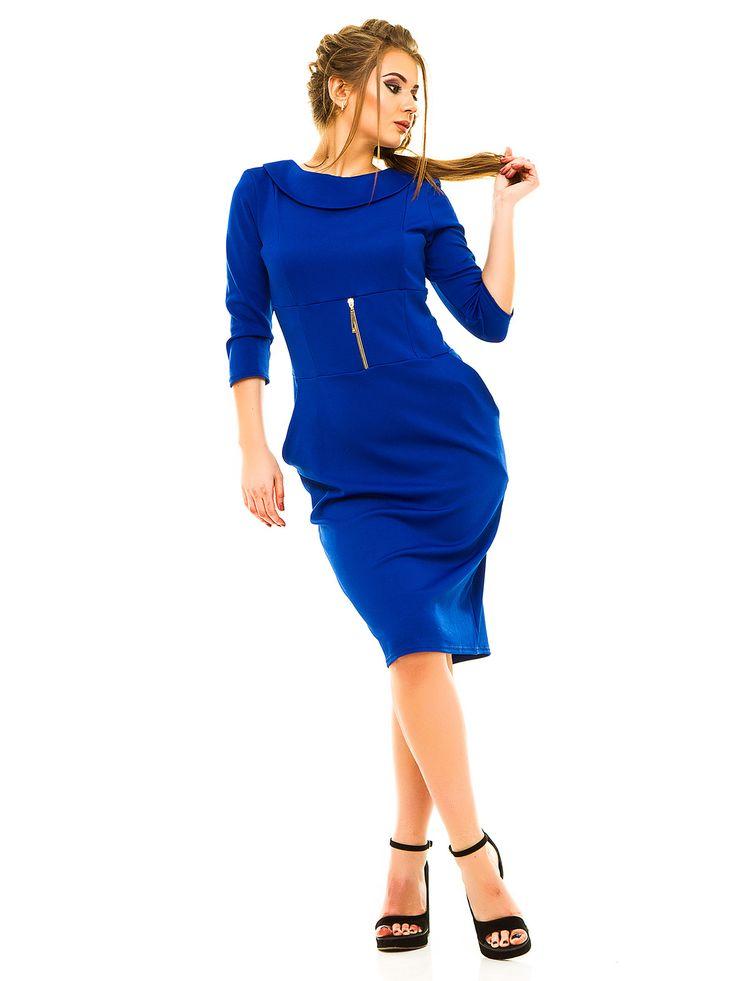 Платье цвета электрик - Exclusive Plus Size - 3129135
