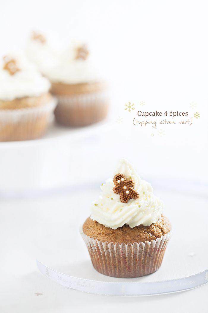 Cupcakes 4épices, topping mascarpone citron vert (Gingerbread cupcakes, topping mascarpone and lime) #gingerbread #cupcake #christmas #food #lime