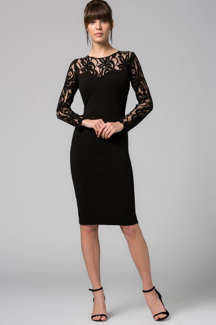 Dantel Üzeri Nakış Detaylı Siyah Elbise MLWSS16FZ1268 TRENDYOLMİLLA | Trendyol