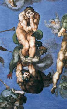 Le jugement dernier, détail : figure centrale d'un damné exprimant désespoir, remord, anéantissement physique et spirituel… 1537-1541. Fresque, Chapelle Sixtine, Vatican