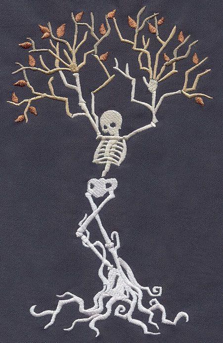 Esqueleto set del Árbol De 2 Baño Toallas De Mano Bordado por Laura
