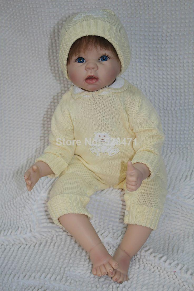 "22"" Reborn  baby doll soft silicone vinyl  handmade sucking fingers dolls hot fashion $109.99"