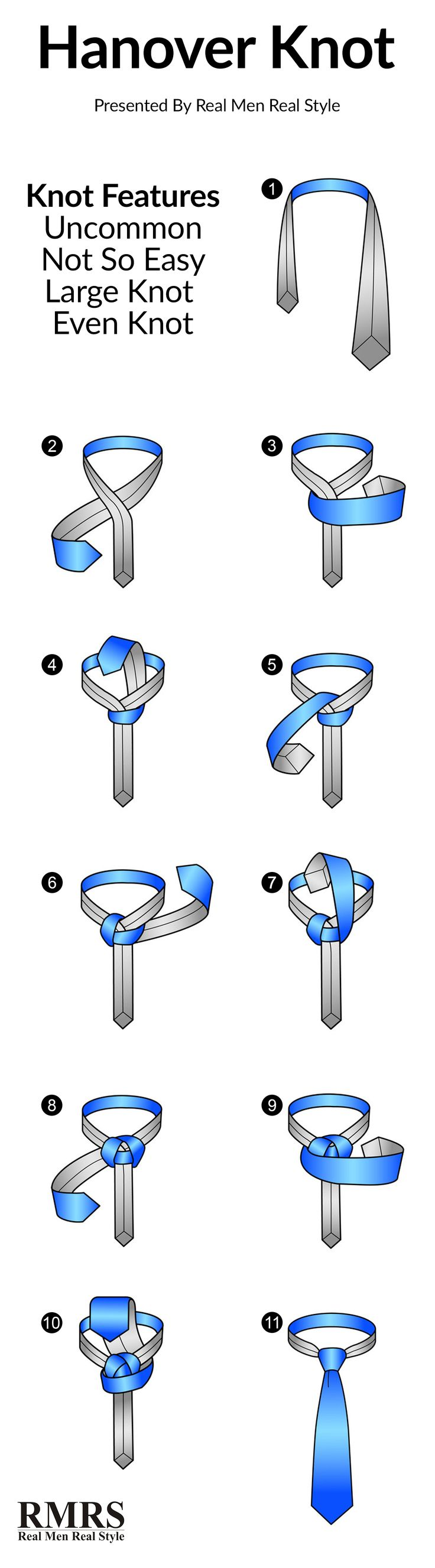 How To Tie The Hanover Knot Infographic  View Signature Designer Style Cufflinks at https://premiumcuffs.com