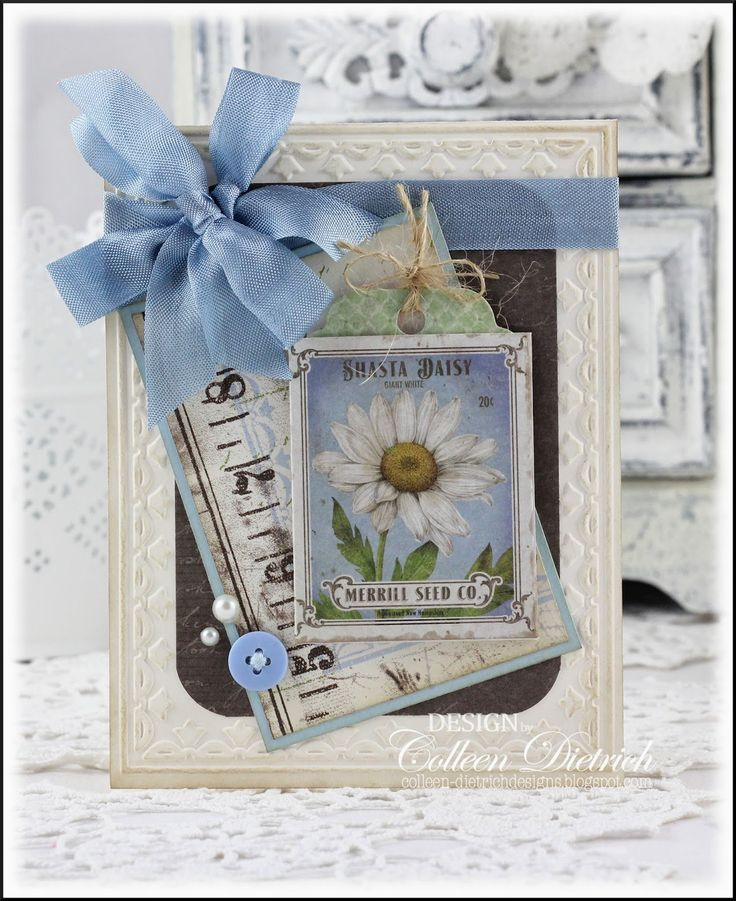 Dietrich Designs - Shasta Daisy seed packet.  All-occasion handmade card using patterned papers and Framed Tulip embossing from Stampin' Up!, and seed packet sticker from K & Co.  Hug Snug seam binding in Danish Blue.