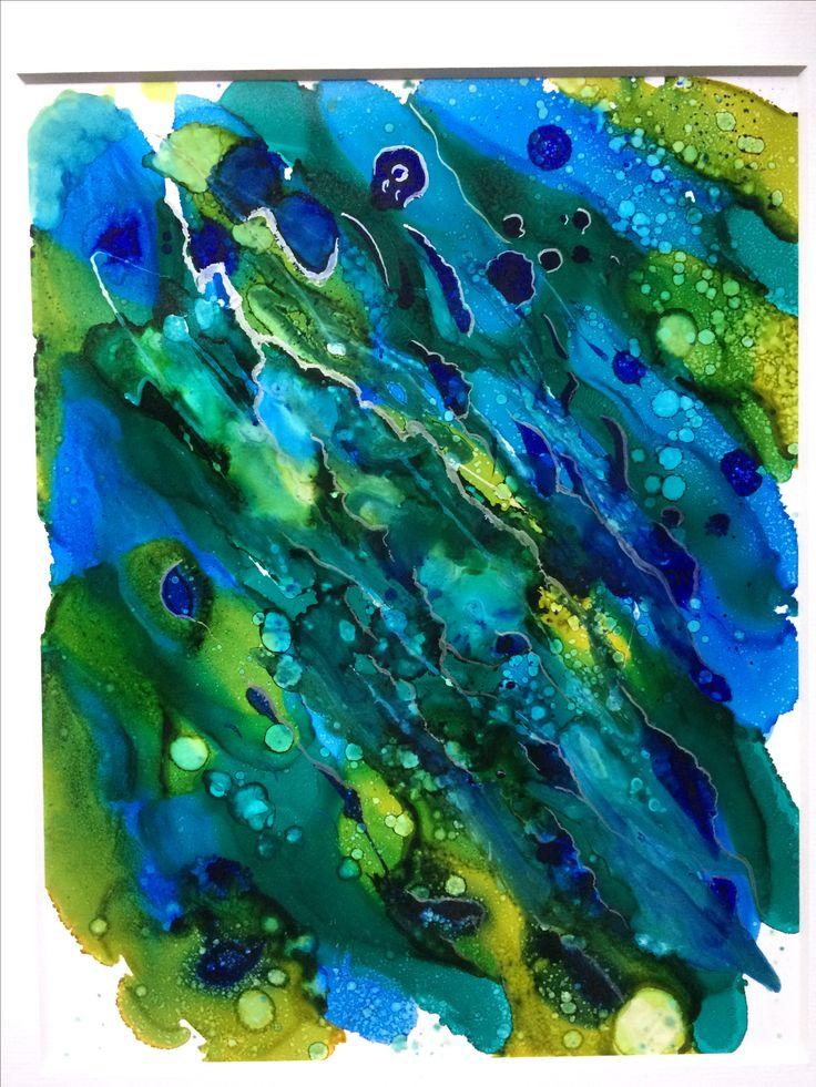 Blue Green Alcohol Ink Atlantic Pacific Meet