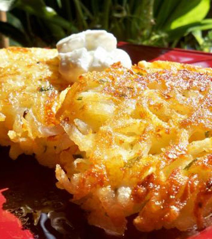Potato Pancakes (Quick Version):   4 cups hash browns (frozen shredded)  1/2 cup finely chopped onion  1/4 cup fresh parsley (minced)  2 tbsps milk  2 beaten eggs  1/4 cup all-purpose flour  1 tsp salt  vegetable oil