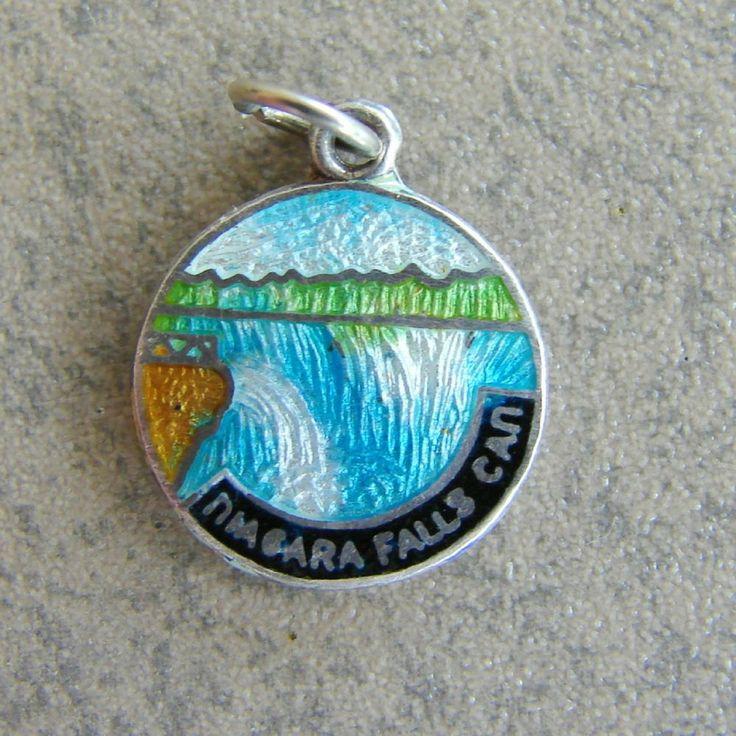 Sterling Silver Enamel Niagara Falls Canada Bracelet Charm BMCo Travel