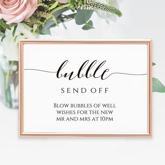 printable bubble send off sign wedding decor bubbles reception