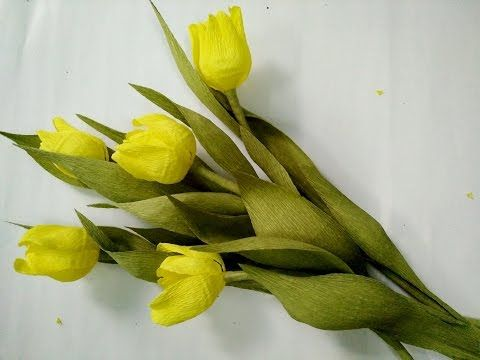 D.I.Y - How to make a paper tulip Part 1 - Làm hoa tulip bằng giấy nhún - YouTube