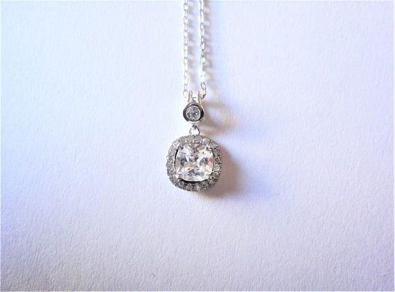 0.97ct Clear/White Cushion & Round cut lab Diamond 925 Silver