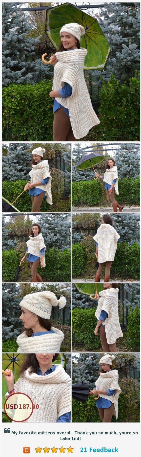 #WomensCape #BeanieasaGift #KnittedCape #PonchoCape #WhiteCape #PonchoWrap #WoolCape #CapeCoat #CapeJacket #WinterCape #CapeCapelet #OversizedCape https://www.etsy.com/Monpasier/listing/573370079/womens-cape-beanie-as-a-gift-knitted?ref=shop_home_active_1