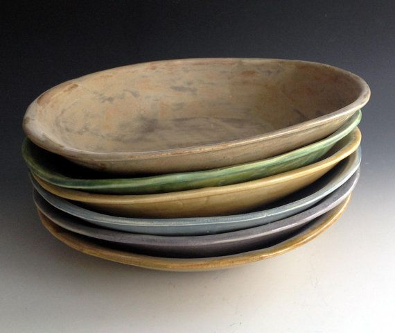 Ready to ship, Set of Six, Pasta Bowls in Six Earth Tones, Handmade stoneware pottery by Leslie Freeman