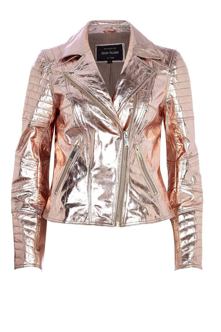 River Island rose gold metallic leather biker jacket. Would love this especially with a knee-length or slightly shorter feminine silk dress.