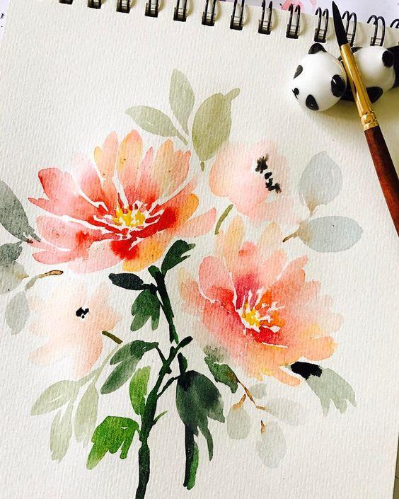 "1,988 mentions J'aime, 20 commentaires - Russet Cainglet (@thismommyiscrafty) sur Instagram: ""Peonies. Good morning! . Shinhan paints; Berkeley paper; Princeton Neptune size 6; panda penrest:…"""