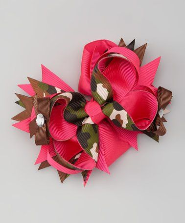 Love this Hot Pink & Camo Bow Clip on #zulily! #zulilyfinds