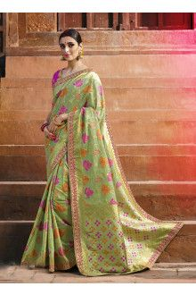 4f5947d710626 buy online Green with Multi Color Designer Silk Saree  Satin  Bridal   Colour