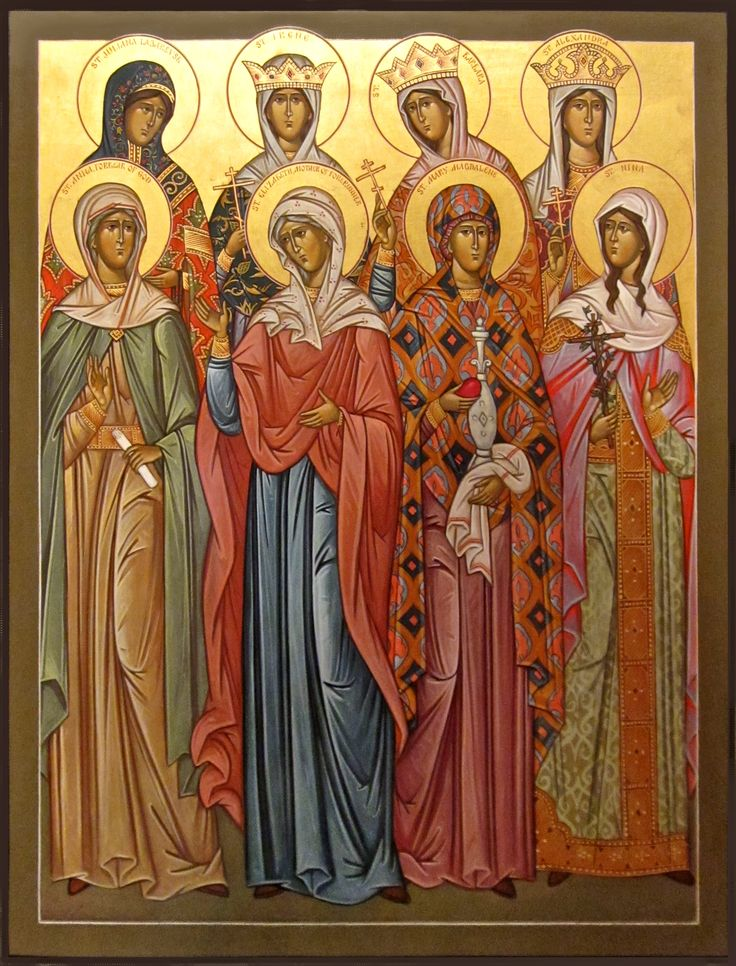 Women Saints icon (left to right): Back row: St. Juliana Lazarevo, St. Irene, St. Barbara, St. Alexandra Front row : St. Anna, St. Elizabeth, St. Mary Magdalene, St. Nina