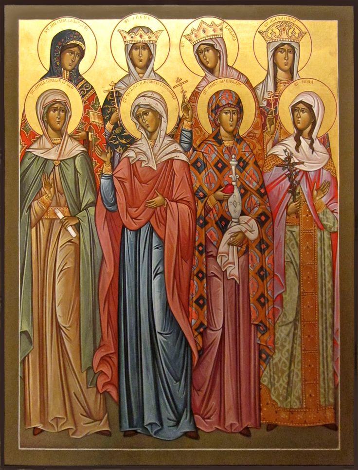ST. WOMEN__Women Saints icon (left to right): Back row: St. Juliana Lazarevo, St. Irene, St. Barbara, St. Alexandra  Front row : St. Anna, St. Elizabeth, St. Mary Magdalene, St. Nina