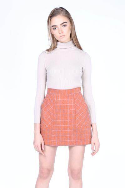 Mini Skirt in Tan Plaids