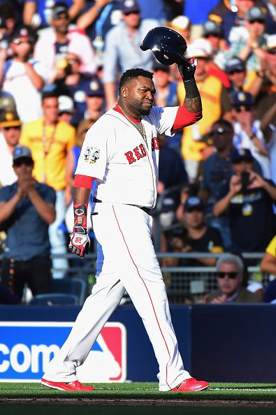 #Allstar2016 David Ortiz of the Boston Red Sox tips his batting helmet to the crowd during the 87th Annual MLB AllStar Game at PETCO Park on July 12 2016 in San...