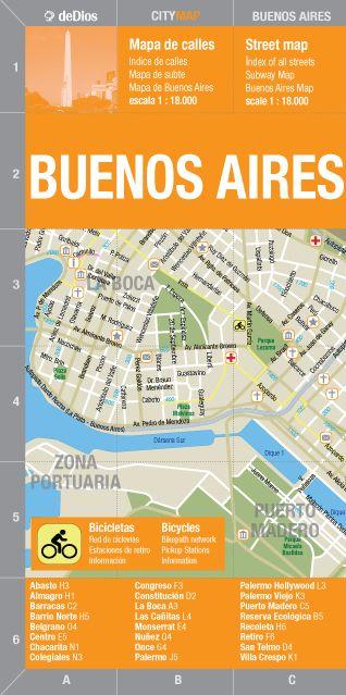 Mapa de calles bilingüe que incluye un índice de calles y su ubicación. El mapa abarca la porción más visitada de la ciudad: desde La Boca hasta la Av. Gral....