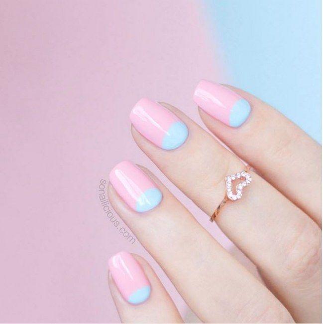 Pretty in Pastell: Schweinchenrosa trifft Babyblau ... OinkOink Rabääääh ;-)  #rosenails #nailart #pinkinspo