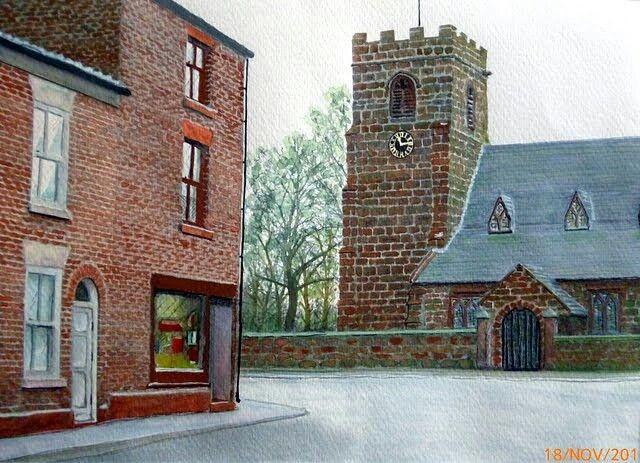 Farnworth church Widnes 20x30cm watercolour painting.