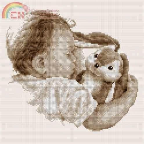 schema punto croce bambino che dorme   Hobby lavori femminili - ricamo - uncinetto - maglia
