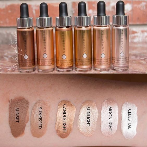 "Cover FX Customer Enhancer Drops in ""Moonlight"" (2nd from right) (sample size 0.095 fl oz).  New in box.  SELL PRICE: $4."