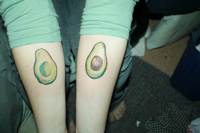 avocado tattoos    this is the day I got them done, so that's why they look reddish/shiny/puffy etc