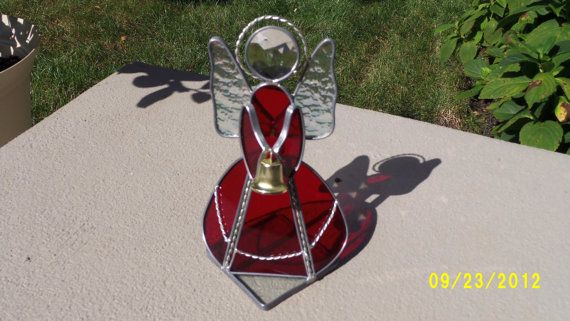 Large Red Stained Glass Angel with Bell by hubbyshobbyshop on Etsy, $35.00