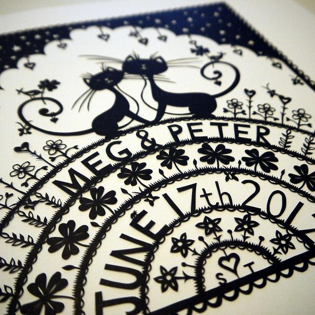 Cat Wedding papercut by VegasLammy, via Flickr