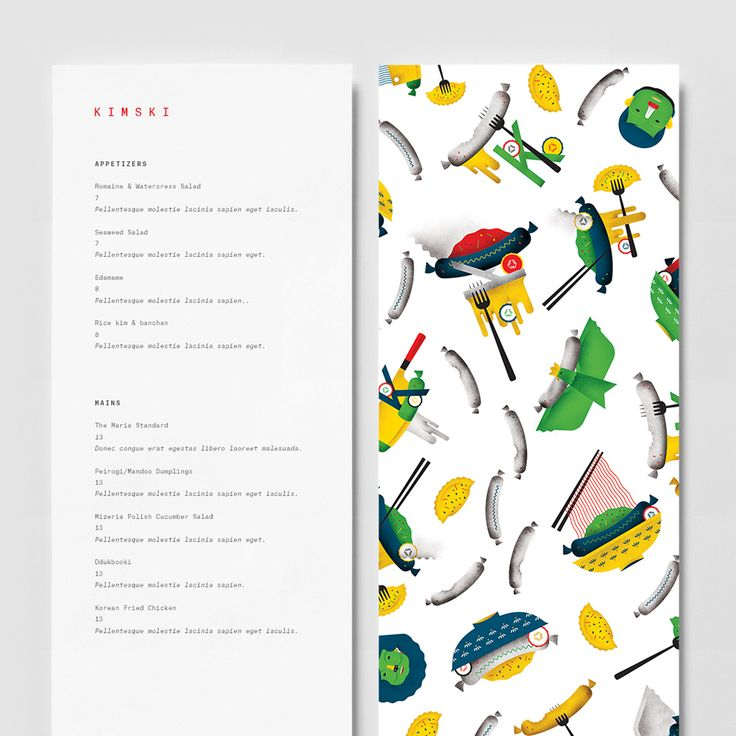 Brand identity, illustration and menu by New York graphic design studio Franklyn…