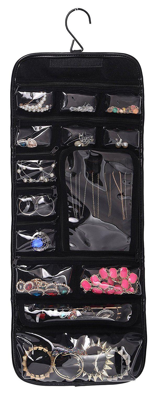 Amazon.com: WODISON PU Leather Travel Hanging Jewelry Roll Up Bag Case Organizer Holder Black: Shoes