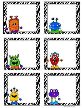 Math Workstation Cards- Monster Themed (Freebie)