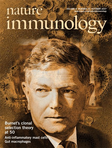Nature Immunology  The clonal selection theory.  Cover image, Macfarlane Burnet, virologist and immunologist