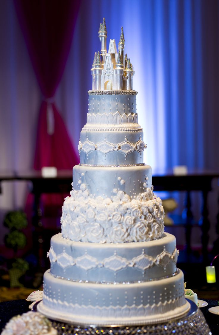 This Cinderella Castle wedding cake will command attention at your reception