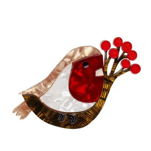 "Erstwilder Collectable Little Red-Breast Brooch. ""Rockin' in them tree-tops all night long. Rumour has it she out-bopped a buzzard and an oriole! We think that's impressive."""