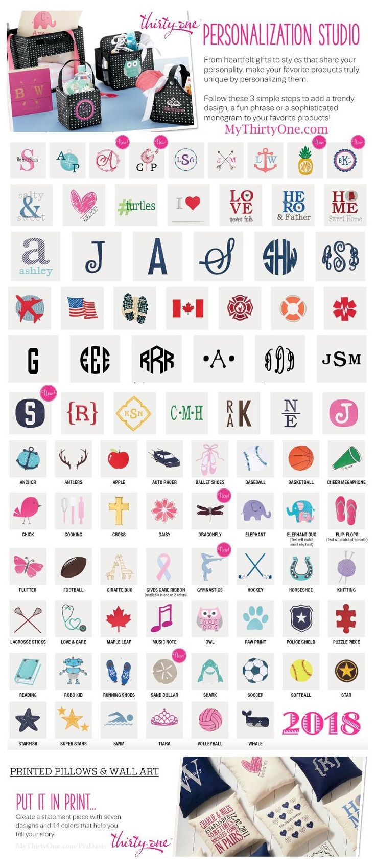 #31 2018 Personalization Studio by Thirty-One is your GO TO place to customize your special gifts for yourself or for others. Make your item one of a kind. Choose from Monogram Initials, graphics, text and special Icon-Its of all your favorite sports and activities. There are even seasonal images for different times of the year. Check it out at… MyThirtyOne.com